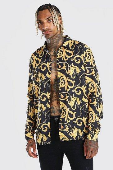 Black Long Sleeve Baroque Print Shirt