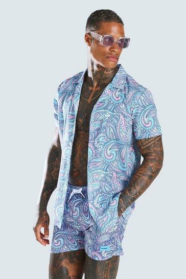 Blue Short Sleeve Revere Collar Paisley Print Shirt