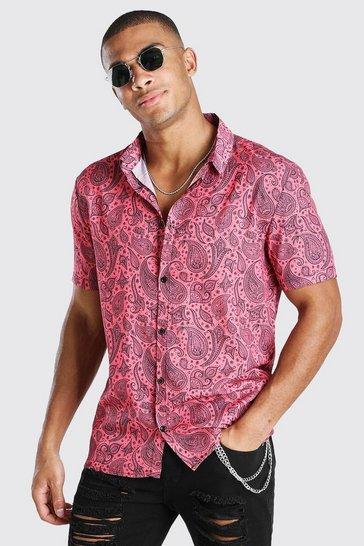 Coral Short Sleeve Paisley Print Shirt
