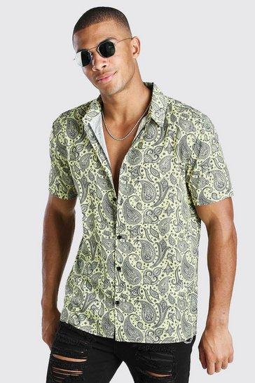 Lemon Short Sleeve Paisley Print Shirt