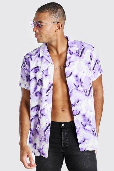 Purple Short Sleeve Revere Collar Abstract Print Shirt