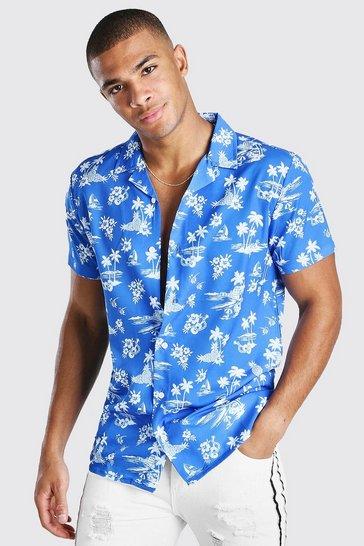 Blue Short Sleeve Revere Collar Hawaiian Print Shirt