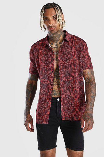 Red Short Sleeve  Snake Print Shirt