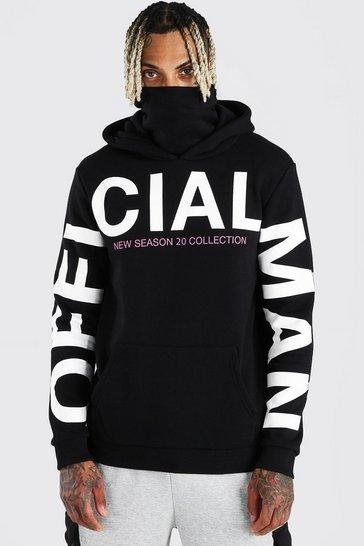 Black MAN Official Sleeve Print Snood Hoodie