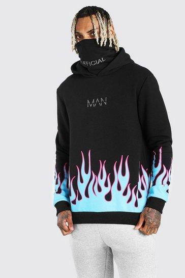 Black MAN Official Flame Print Snood Hoodie