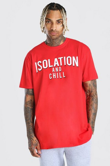 Red Oversized Isolation and Chill T-Shirt