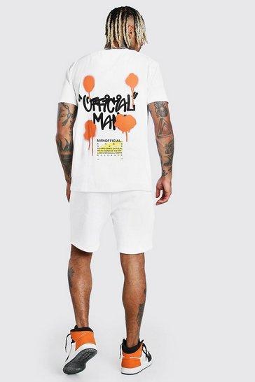 White MAN Graffiti Back Print T-Shirt & Short Set
