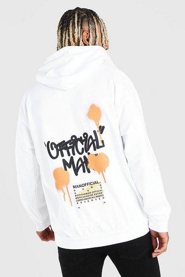 White Official MAN Graffiti Back Print Hoodie