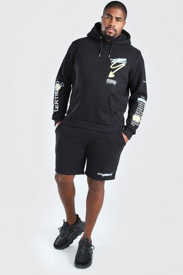 Black Big And Tall MAN Official Hoodie And Short Set