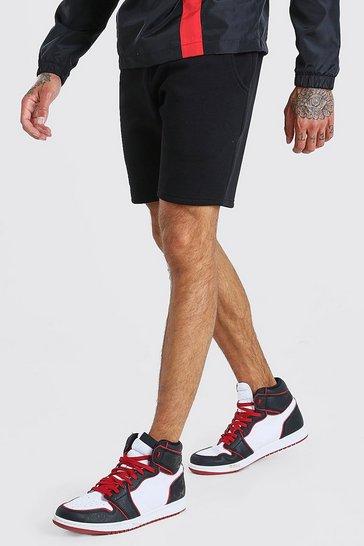 Black Basic Mid Length Jersey Short