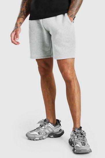 Grey marl Basic Mid Length Jersey Short
