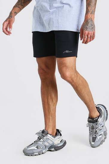 Black Man Signature Mid length jersey short