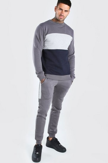 Charcoal Colour Block Sweater Tracksuit