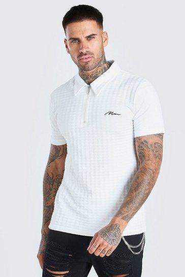 White MAN Signature Space Dye Zip Polo