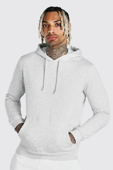 Grey Basic Over The Head Fleece Hoodie