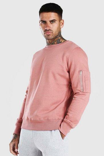 Pink Crew Neck Sweatshirt With Zip Detail