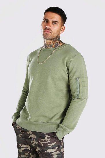 Dusty green Crew Neck Sweatshirt With Zip Detail