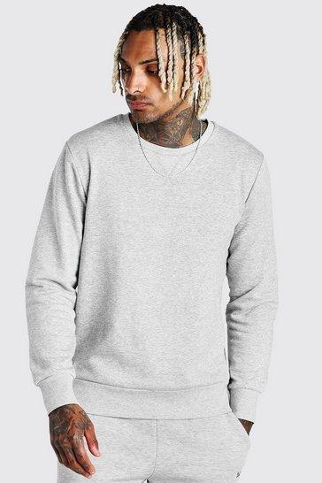 Grey marl Basic Crew Neck Sweatshirt