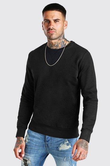 Black Basic Crew Neck Sweatshirt