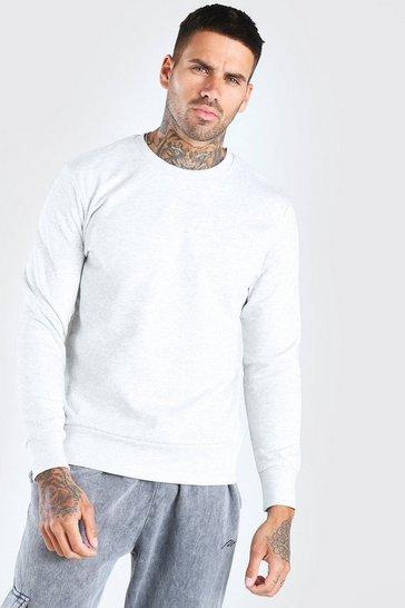 Ecru Basic Crew Neck Sweatshirt