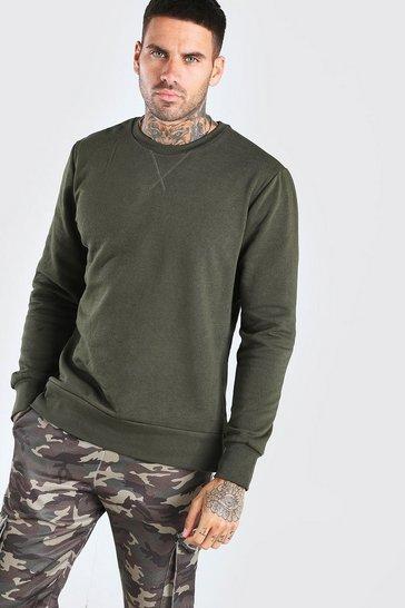 Khaki Basic Crew Neck Sweatshirt