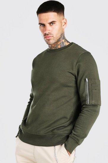 Khaki Crew Neck Sweatshirt With Zip Detail
