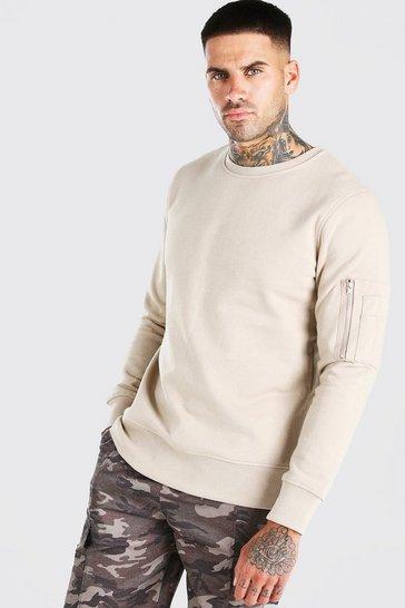 Taupe Crew Neck Sweatshirt With Zip Detail