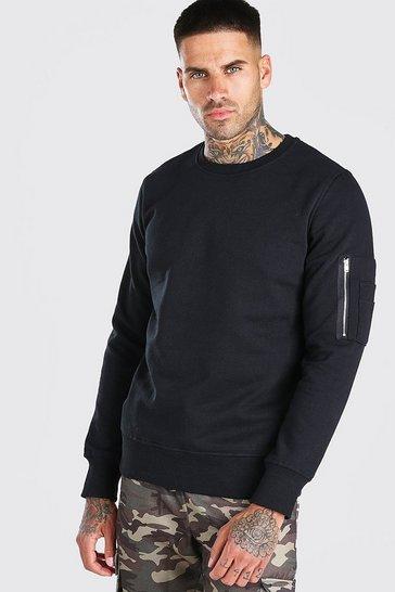 Black Crew Neck Sweatshirt With Zip Detail