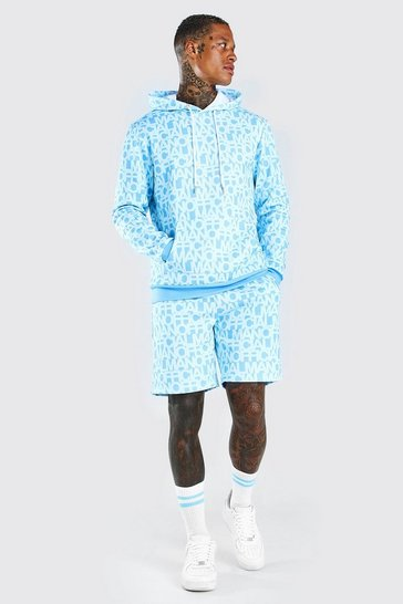 Blue Man Official All Over Print Short Tracksuit