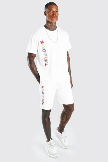 White Man Rainbow Embroidered T-Shirt & Short Set