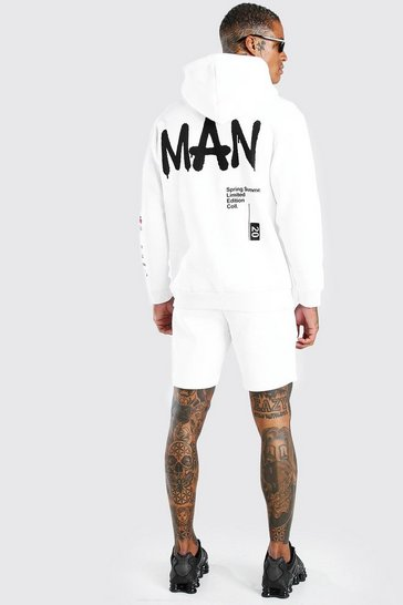 White Man Graffiti Print Hooded Short Tracksuit