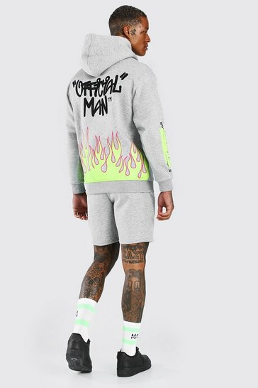 Grey Official Man Graffiti Flame Printed Short Tracksuit