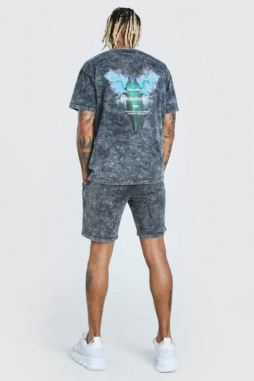 Charcoal Acid Wash Beatle Graphic T-Shirt & Short Set