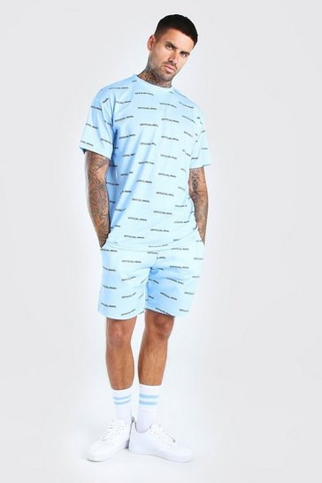 Blue Official Man Repeat Print T-Shirt & Short Set