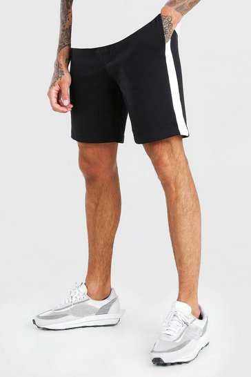 Black Mid Length Jersey Short With Side Panel