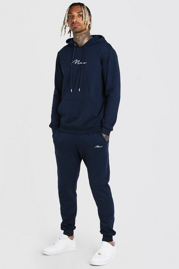 Navy Man Signature Embroidered Hooded Tracksuit