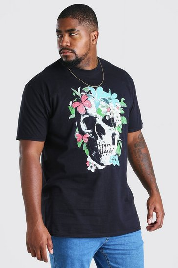 Black Big And Tall Butterfly Skull Print T-Shirt