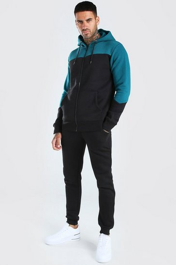 Black Panelled Zip Through Hooded Tracksuit