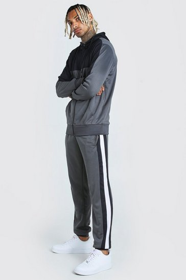 Grey Poly Zip Through Hooded Tracksuit With Panels