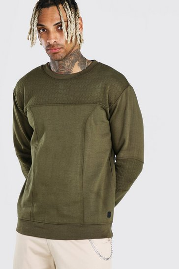 Khaki Panelled Crew Neck Sweatshirt