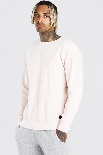 Light pink Panelled Crew Neck Sweatshirt