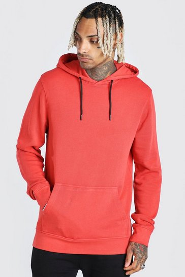 Red Hoodie With Contrast Trim