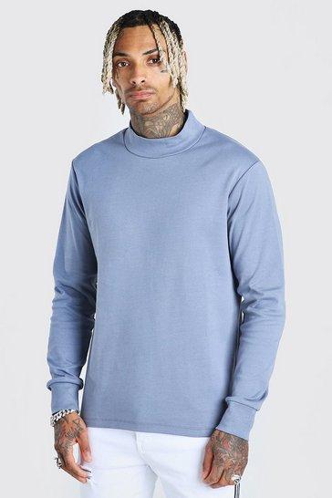 Blue Extended Neck Sweatshirt