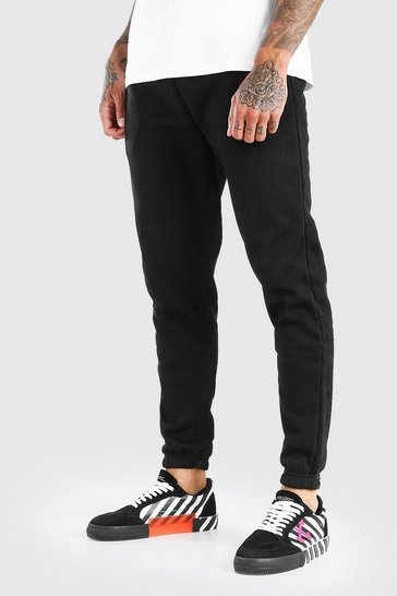 Black Slim Fit Jogger With Side Zips