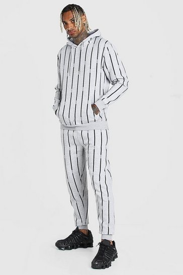 Grey marl All Over MAN Stripe Tracksuit