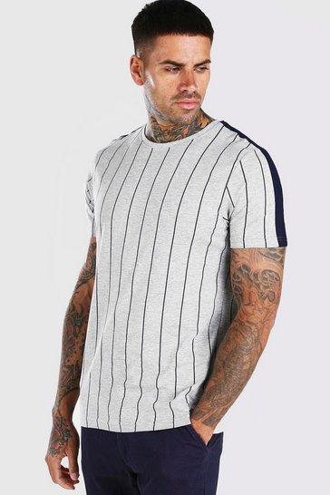 Grey marl Vertical Stripe T-Shirt