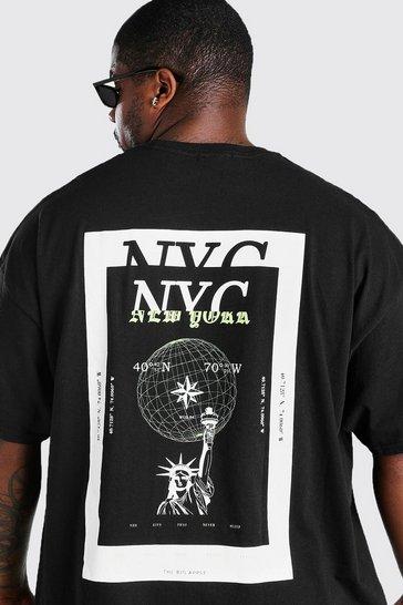 Black Big & Tall NYC Back Print T-Shirt