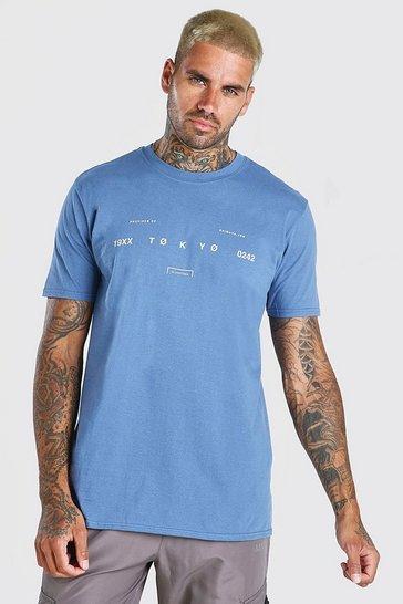Blue Tokyo Front Print Oversized T-Shirt