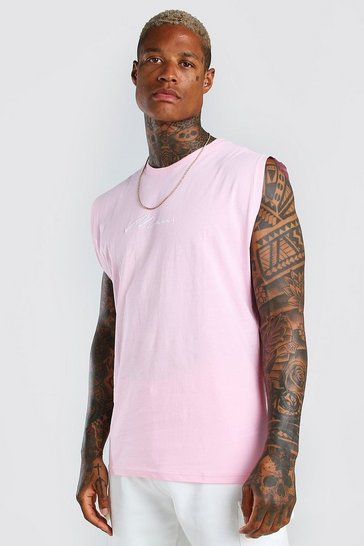 Pink MAN Signature Embroidered Sleeveless T-Shirt