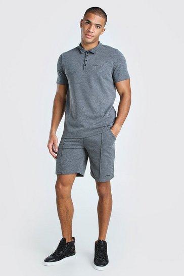 Grey Man Signature Polo & Pintuck Short Set